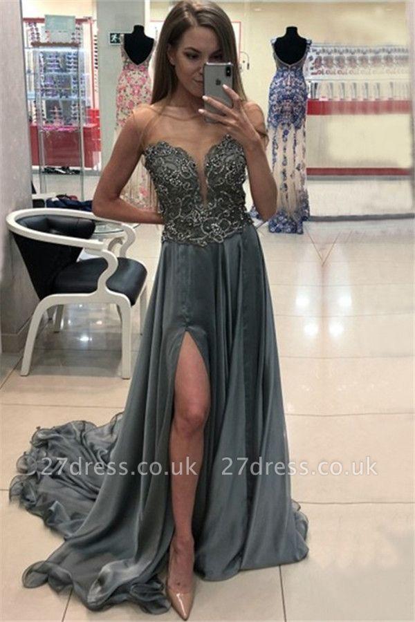 Sexy Jewel Applique Ruffles Prom Dress UKes UK Sleeveless Side Slit Elegant Evening Dress UKes UK with Beads