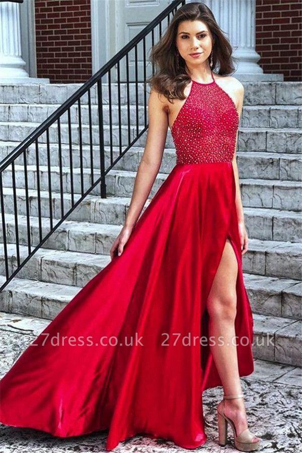 Sexy Red Halter Sleeveless Prom Dress UKes UK Side Slit Elegant Evening Dress UKes UK with Beads