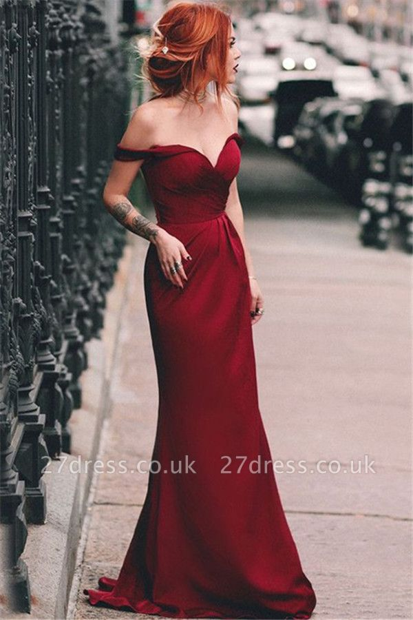 Red Off-the-Shoulder Ruffles Prom Dress UKes UK Sleeveless Mermaid Elegant Evening Dress UKes UK