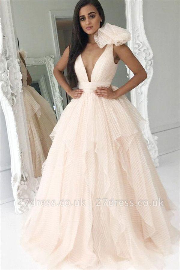 Ruffles Elegant V-Neck Bowknot Prom Dress UKes UK Sexy Tiered Sleeveless Evening Dress UKes UK
