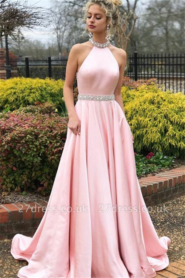 Sexy Pink Halter Crystal Open Back Prom Dress UKes UK Sleeveless Ruffles Elegant Evening Dress UKes UK with Sash