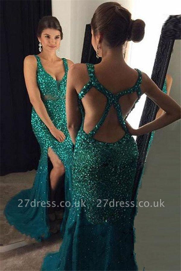 Sequins Straps Prom Dress UKes UK Side slit Mermaid Sleeveless Evening Dress UKes UK
