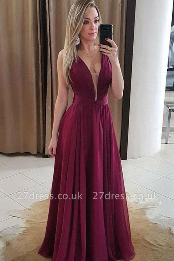 Sexy Ruffles Elegant V-Neck Prom Dress UKes UK Simple Popular Sleeveless Evening Dress UKes UK