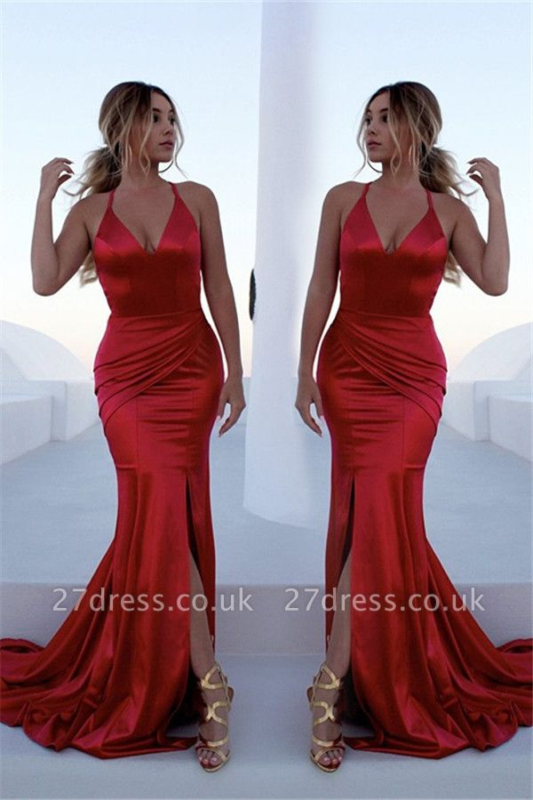 Sexy Red Halter Lace Up Prom Dress UKes UK Sleeveless Ruffles Mermaid Side Slit Elegant Evening Dress UKes UK