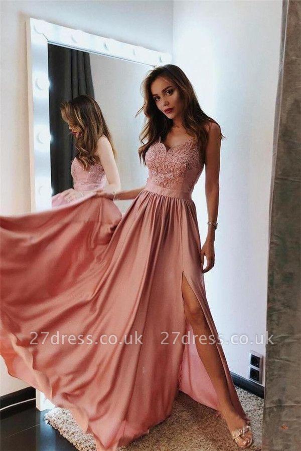 Sexy Spaghetti-Strap Lace Appliques Prom Dress UKes UK Side slit A-Line Sleeveless Evening Dress UKes UK