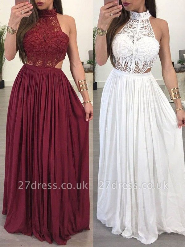 Lace Halter Sleeveless Ruffles Prom Dress UKes UK Popular Sexy Elegant Evening Dress UKes UK