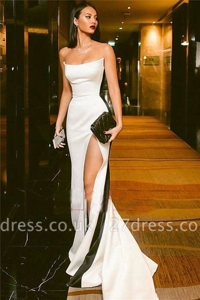 Elegant Strapless Side Slit Evening Dress UKes UK Sexy Online | Black White Sleeveless Sexy Formal Party Dress UK