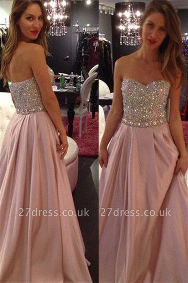 Sweetheart Crystal Prom Dress UKes UK Fashion Pink Sleeveless Evening Dress UKes UK