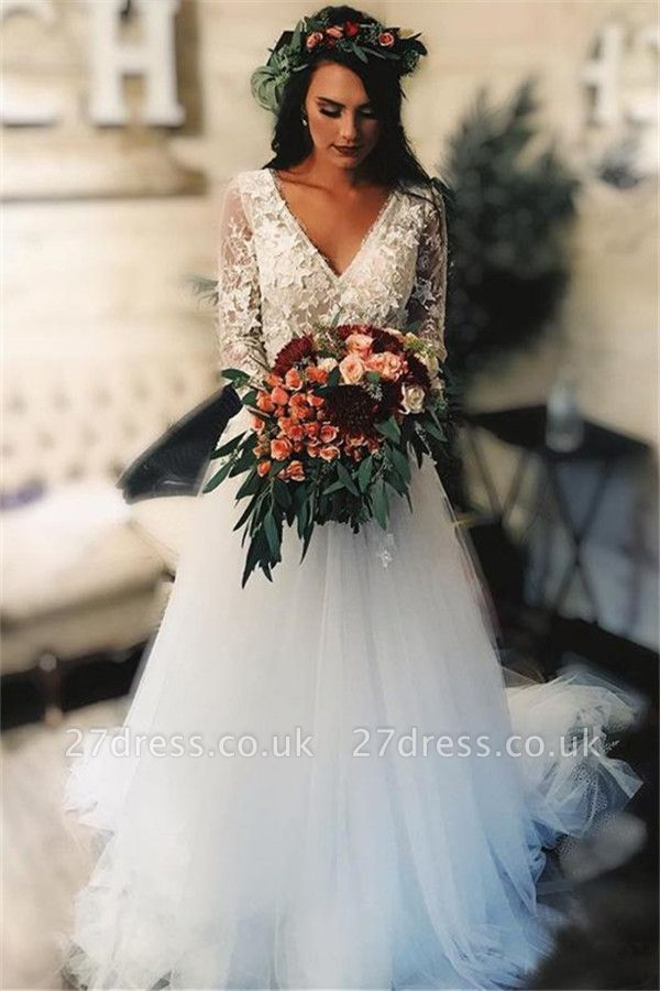 Elegant  V-Neck Applique Wedding Dresses UK Sheer Cheap Longsleeves Floral Bridal Gowns