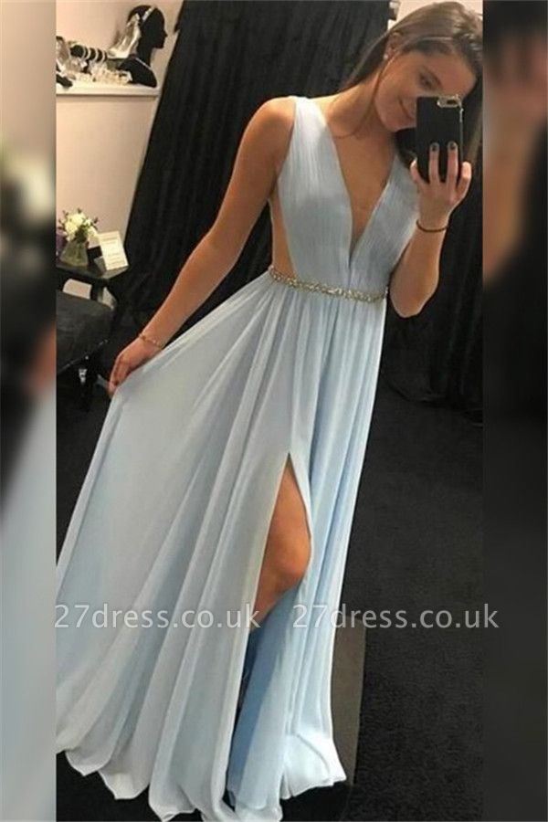 Elegant V-Neck Sequins Sleeveless Prom Dress UKes UK Side Slit Elegant Evening Dress UKes UK with Sash