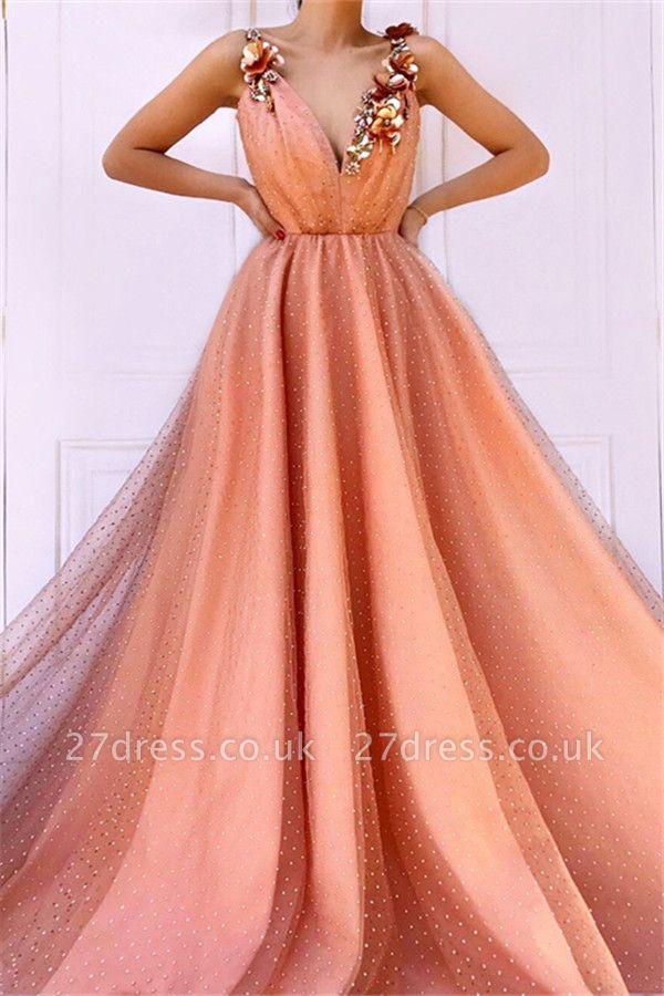 Orange Floral Lace Appliques Straps Sleeveless Tulle A-Line Prom Dress UK