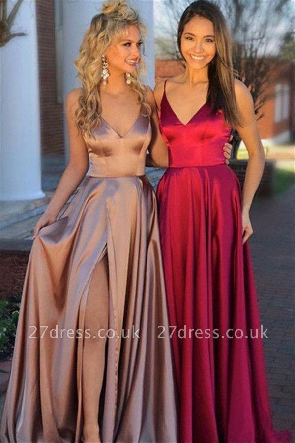 Sexy Spaghetti Strap Sleeveless Prom Dress UKes UK Side Slit Elegant Evening Dress UKes UK Sexy
