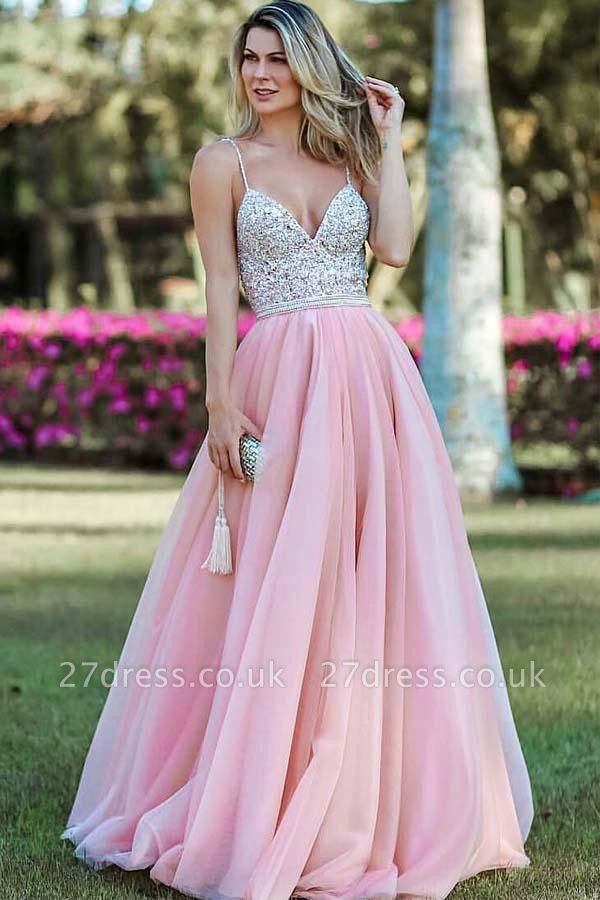 Crystal Spaghetti-Strap Lace Appliques Prom Dress UKes UK Side slit Backless Sleeveless Evening Dress UKes UK