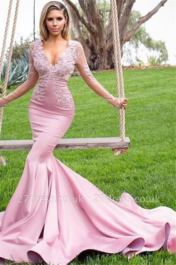 Sexy Pink Elegant V-Neck Long Sleeves Prom Dress UKes UK Applique Mermaid Ruffles Elegant Evening Dress UKes UK