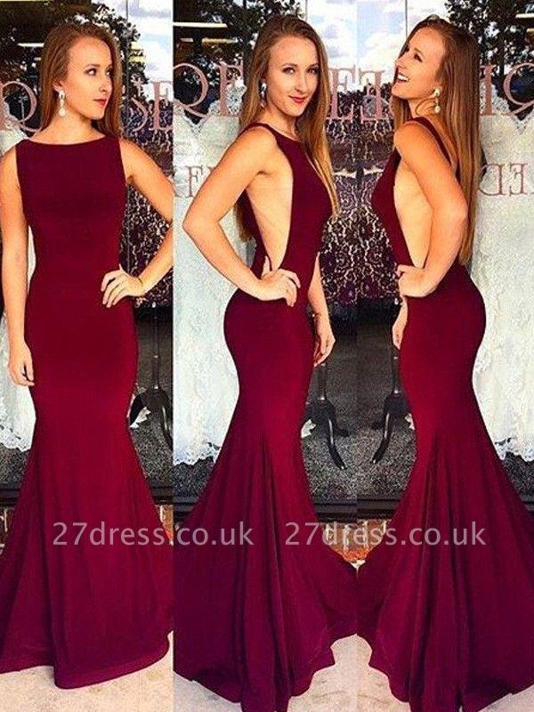 Burgundy Jewel Prom Dress UKes UK Sleeveless Mermaid Sexy Evening Dress UKes UK