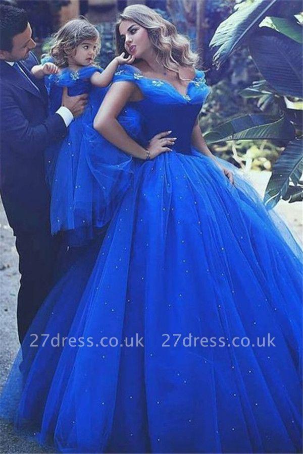 Sexy Off-the-Shoulder Flower Prom Dress UKes UK Sleeveless Tulle Ball Gown Evening Dress UKes UK wit Beads