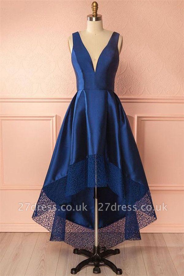 Sexy Thick Satin Straps Prom Dress UKes UK Hi-Lo Lace Sleeveless Evening Dress UKes UK