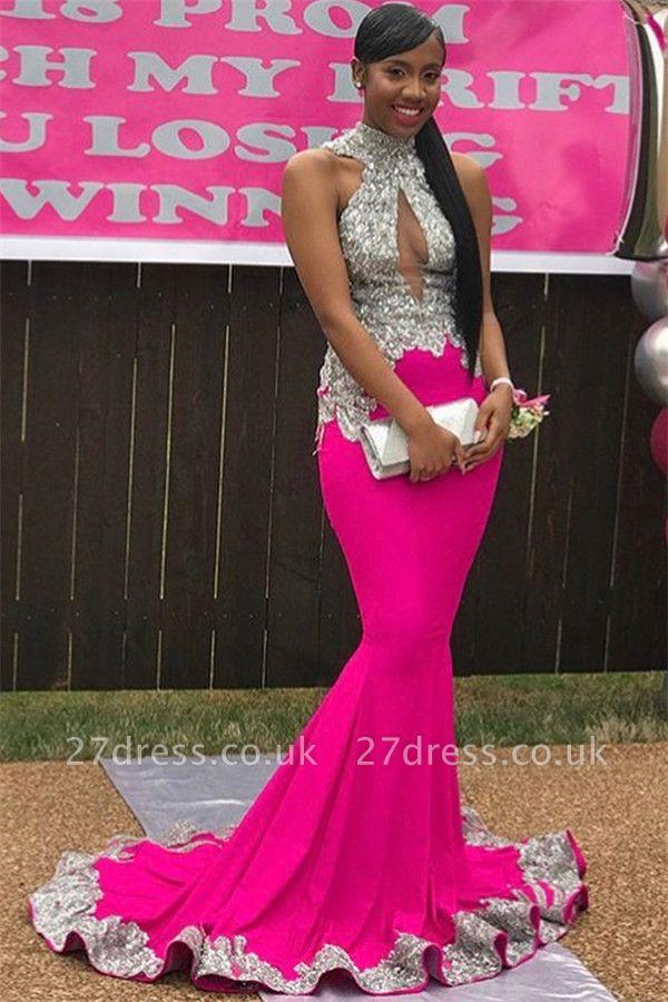 Elegant High-Neck Open back without Sleeve Applique Elegant Mermaid Prom Dress UK UK