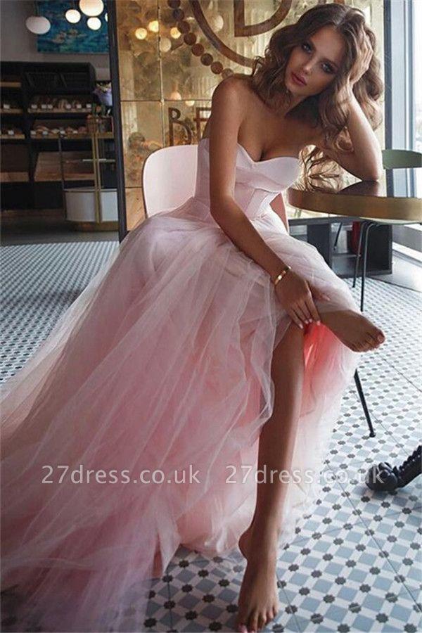 Pink Sweetheart Ruffles Prom Dress UKes UK Tulle Sleeveless Elegant Evening Dress UKes UK Sexy