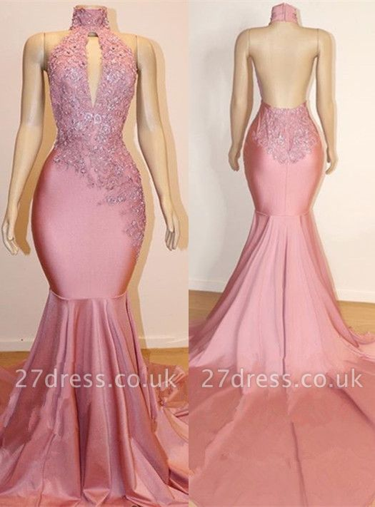 Halter Open back Elegant Mermaid Lace Appliques Long Train Prom Dress UK UKes UK