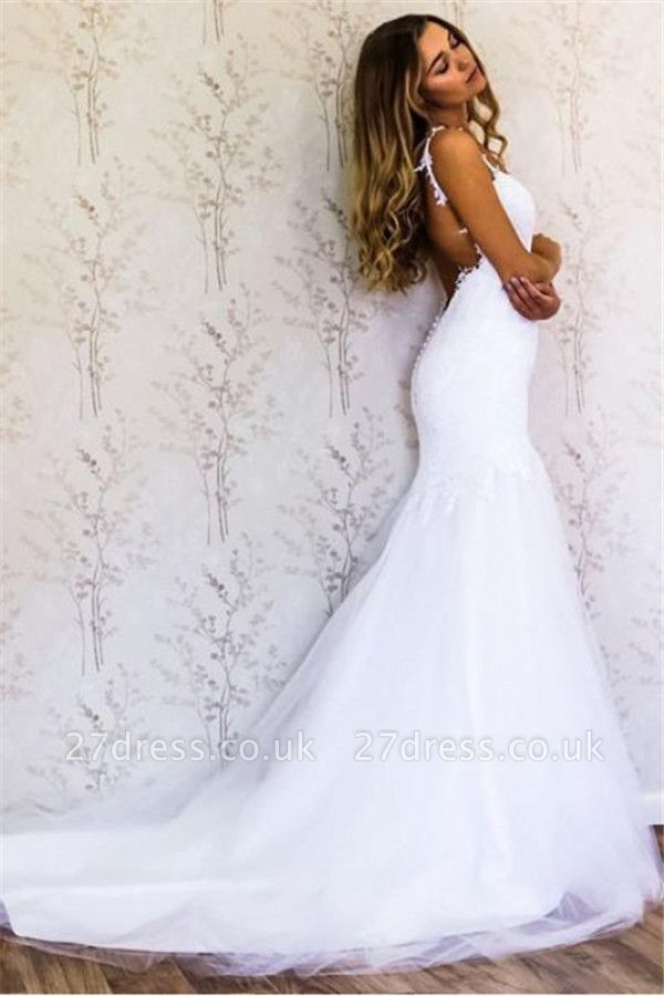 Appliques Straps Wedding Dresses UK | Backless Longsleeves Floral Bridal Gowns