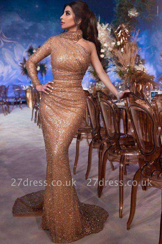 Gorgeous Hign-Neck Asymmetric Sequins Elegant Mermaid Evening Dress UK UK