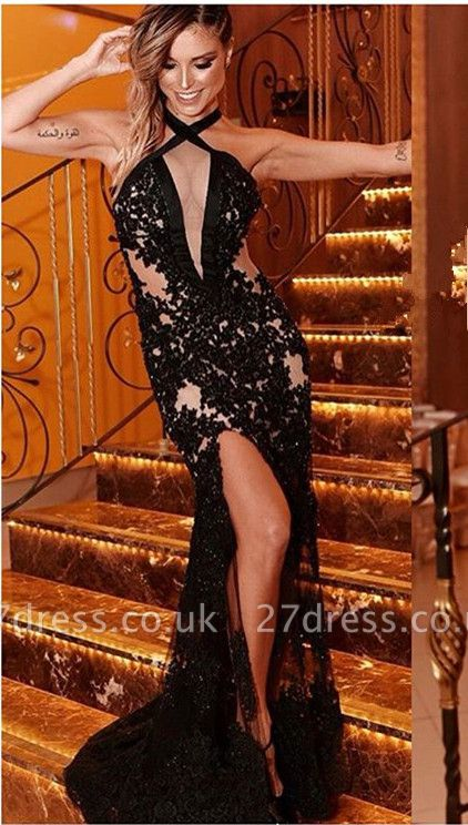 Elegant Black Criss Cross Side-Split Halter without Sleeve Lace Elegant Mermaid Prom Dress UK UK