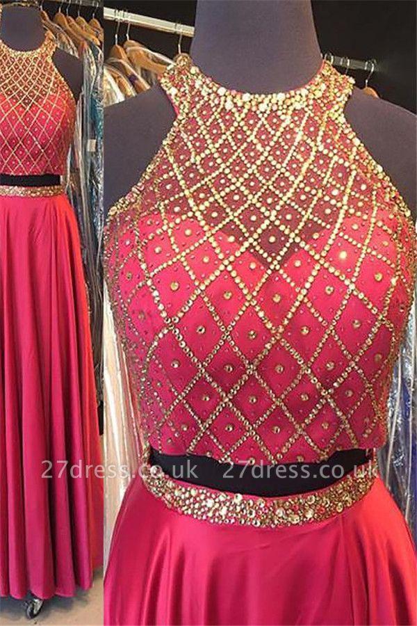 Fashion Pink Sequins Lace Appliques Crystal Halter Prom Dress UKes UK Sleeveless Evening Dress UKes UK With Sash