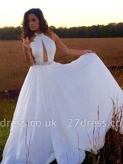 Sexy Halter Crystal Prom Dress UKes UK Sleeveless keyhole Evening Dress UKes UK Sexy