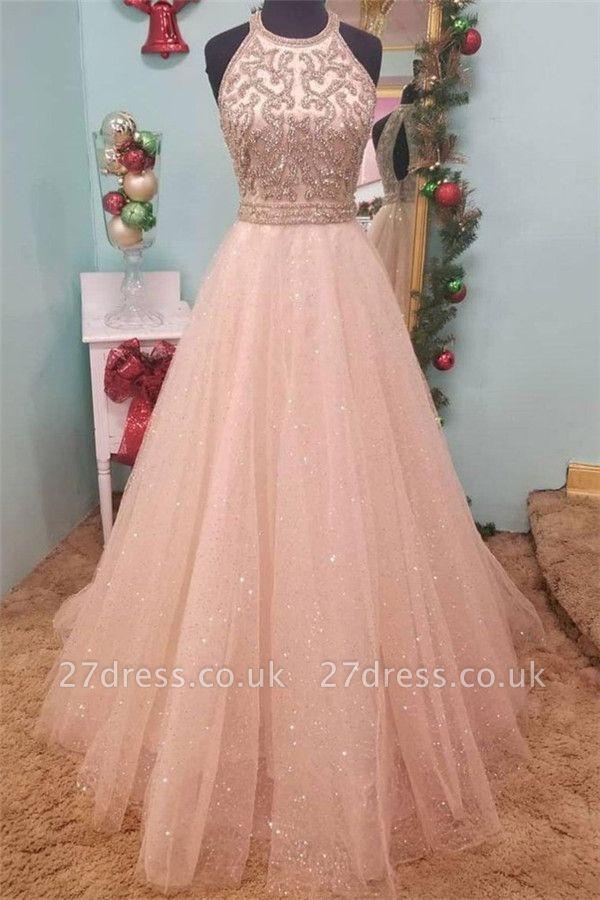 Sexy Sequins Halter Lace Appliques Prom Dress UKes UK Sheer Sleeveless Evening Dress UKes UK