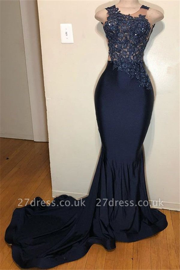 Dark Blue Straps without Sleeve Applique Elegant Mermaid Prom Dress UK UK