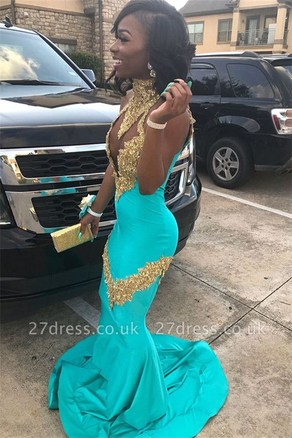 High Neck Crystal Prom Dress UKes UK Mermaid Falbala Sleeveless Evening Dress UKes UK