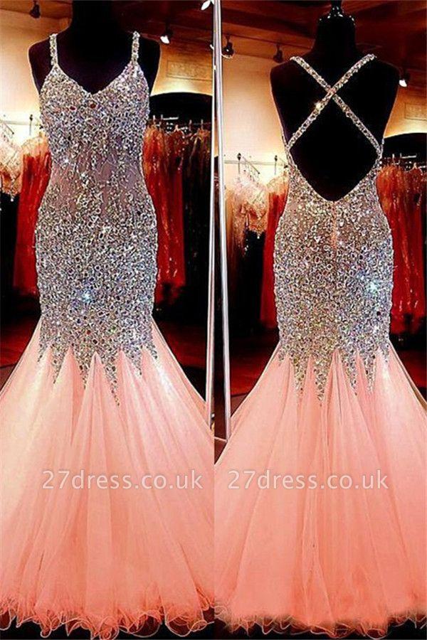 Spaghetti Strap Beads Crystal Prom Dress UKes UK Sleeveless Pink Lace Up Evening Dress UKes UK
