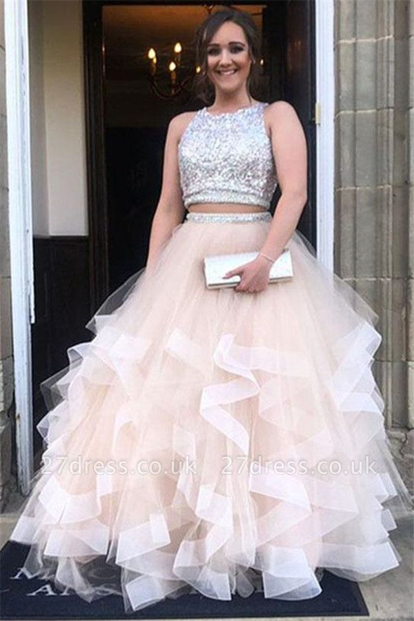 Sequins Jewel Sheer Prom Dress UKes UK Two Piece  Sleeveless Evening Dress UKes UK