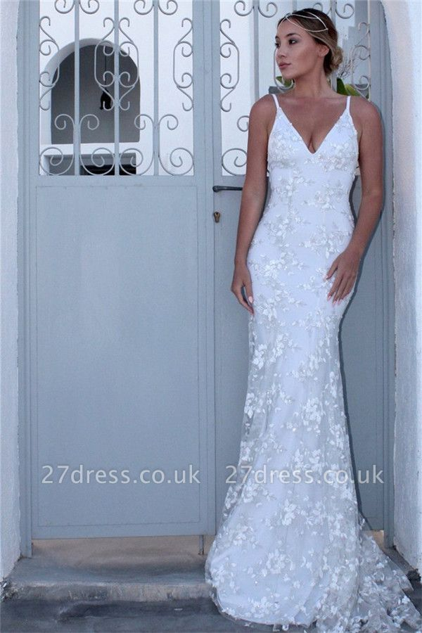 Sexy Spaghetti-Strap Lace Appliques Prom Dress UKes UK Side slit Lace-Up Mermaid Sleeveless Evening Dress UKes UK