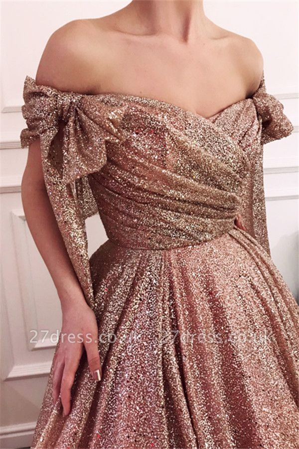 Simple Off-The-Shoulder Sequins A-Line Evening Dress UK