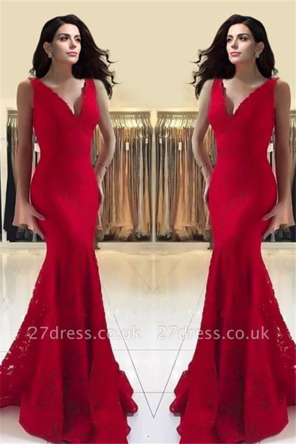 Sexy Red Spaghetti Strap Prom Dress UKes UK Lace Sleeveless Mermaid Evening Dress UKes UK