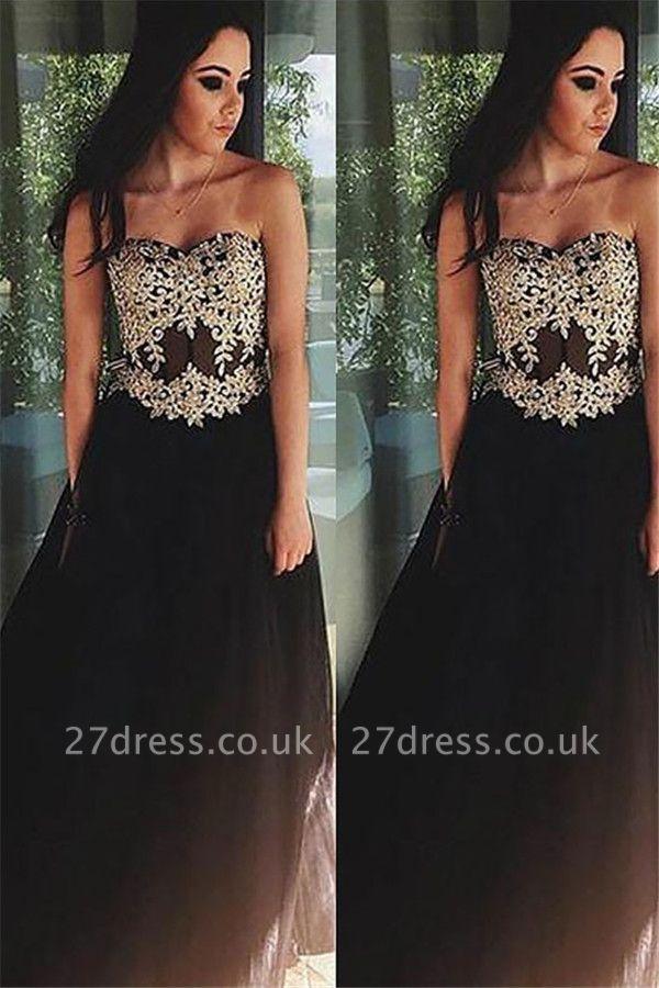 Black Lace Appliques Sweetheart Prom Dress UKes UK Tulle Simple Evening Dress UKes UK Sexy