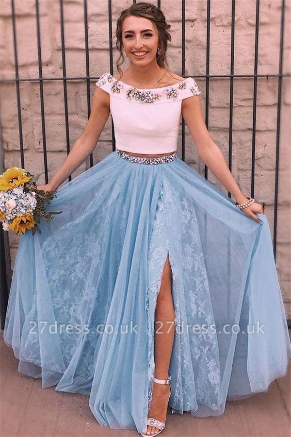 Crystal  Two Piece Lace Appliques Prom Dress UKes UK Side slit Mermaid Sleeveless Evening Dress UKes UK