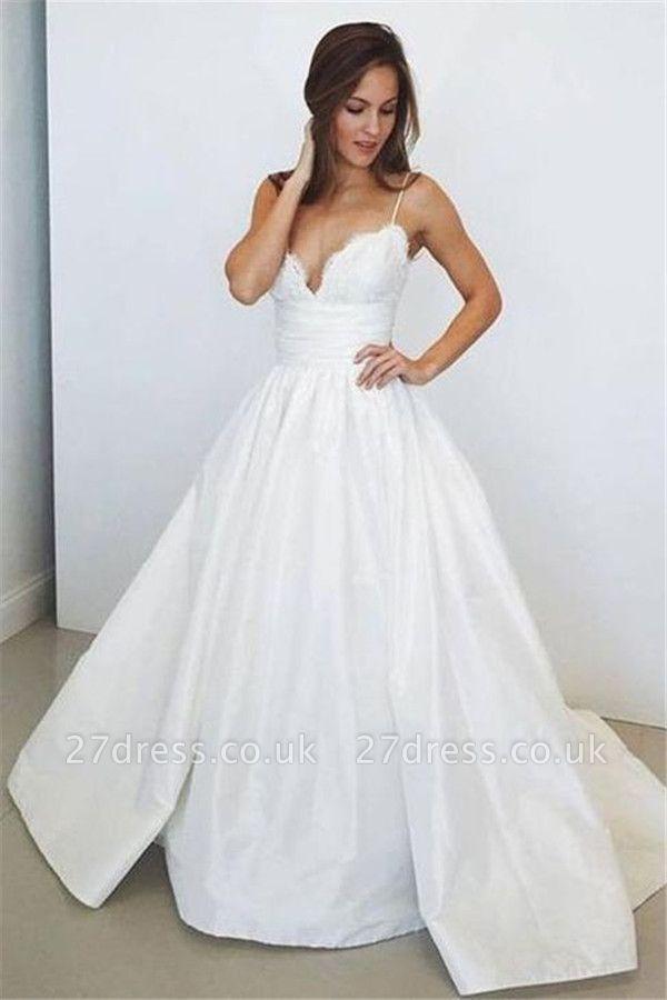 Sheer Lace Appliques Spaghetti-Strap Prom Dress UKes UK Simple Sleeveless Evening Dress UKes UK