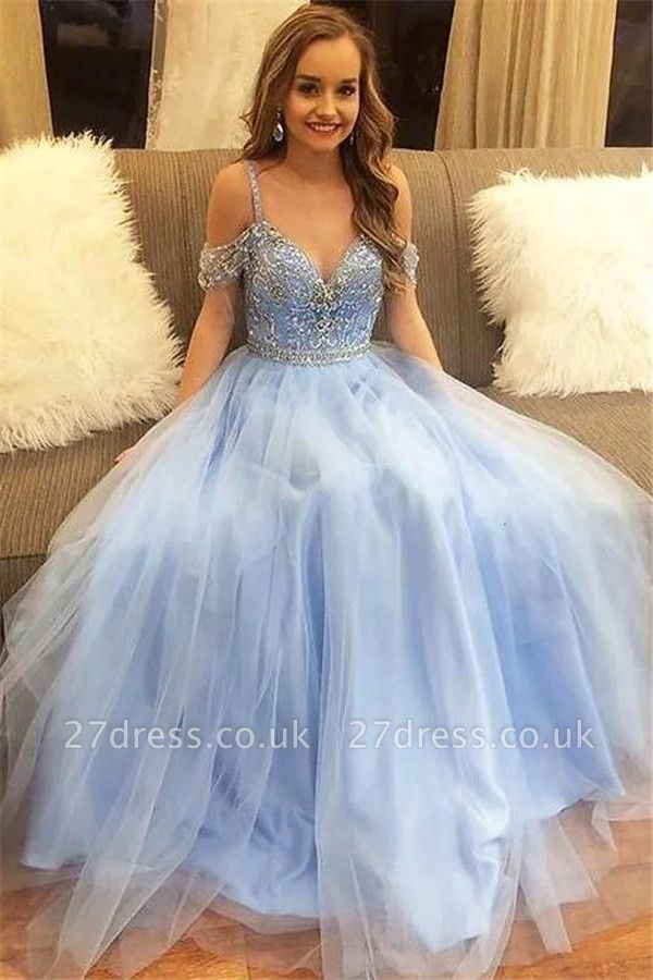 Sexy Crystal SpagheetiStraps Prom Dress UKes UK Sheer  Sequins leeveless Evening Dress UKes UK