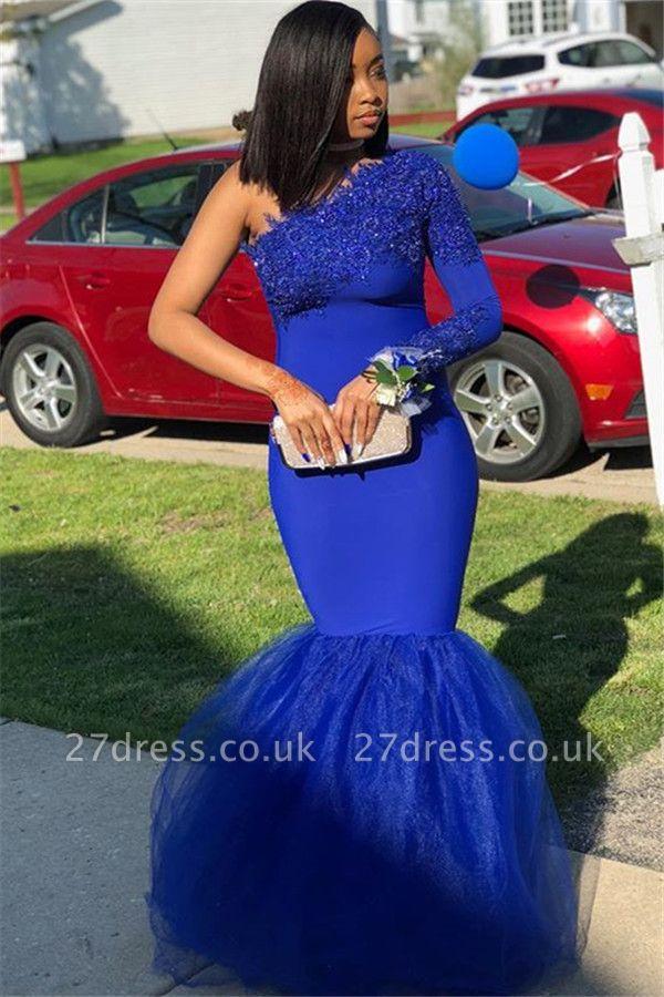 Royal Blue Asymmetric Lace Appliques Elegant Mermaid Evening Dress UK UK