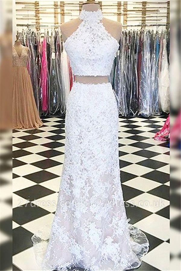 Sexy Halter Applique Prom Dress UKes UK Side Slit Sleeveless Elegant Evening Dress UKes UK with Beads