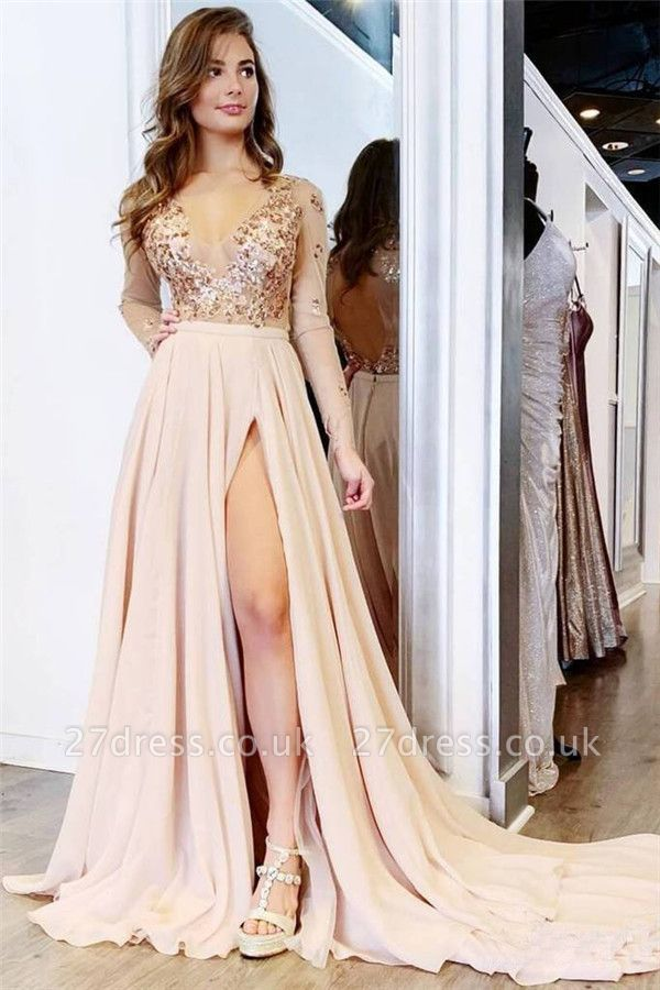 Sexy Sequin Elegant V-Neck Lace Appliques Crystal Prom Dress UKes UK Side slit Longsleeves Evening Dress UKes UK