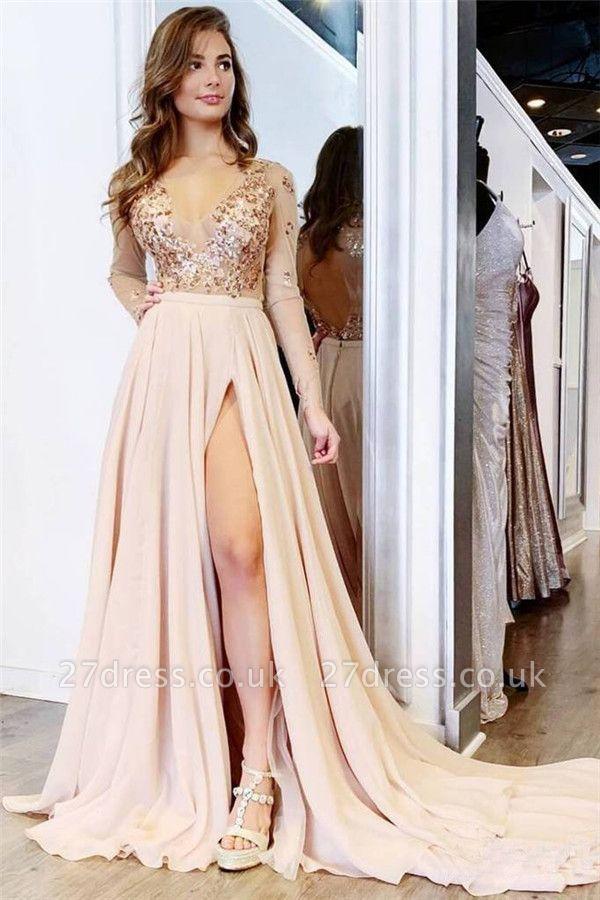 Sexy Sequin Elegant V-Neck Lace Appliques Crystal Prom Dress UKes UK Side slit Longsleeves Evening Dress UKes UK