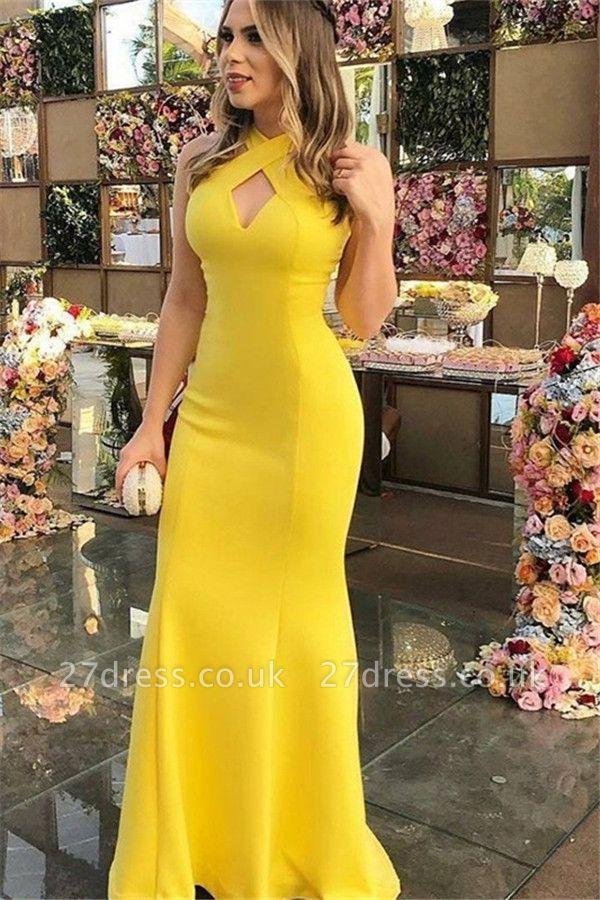 Charming Yellow Halter Mermaid Prom Dress UKes UK Sleeveless Keyhole Elegant Evening Dress UKes UK Sexy