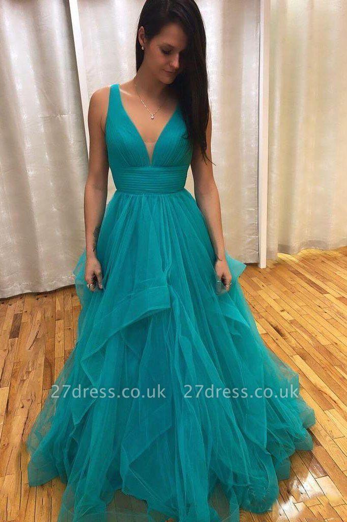 Sexy Ruffles Elegant V-Neck Prom Dress UKes UK Sheer Sleeveless Evening Dress UKes UK