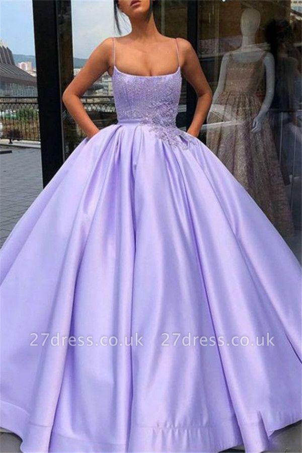 Sexy Spaghetti Strap Applique Beads Prom Dress UKes UK Ruffles Ball Gown Sleeveless Elegant Evening Dress UKes UK with Pocket