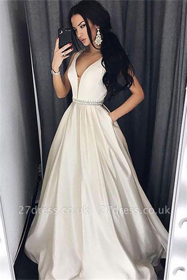 Sexy Elegant V-Neck Sash Prom Dress UKes UK Sleeveless Evening Dress UKes UK with Pocket