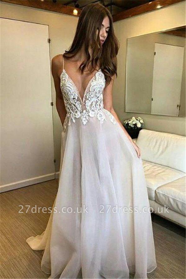 Sexy Lace Appliques Spaghetti-Strap Prom Dress UKes UK Backless Tulle Sleeveless Evening Dress UKes UK